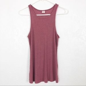 SUN & SHADOW Rib Knit Tank Burgundy M